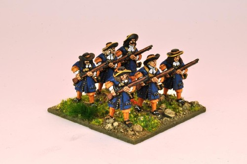 Musketeers with Flintlocks at ready.