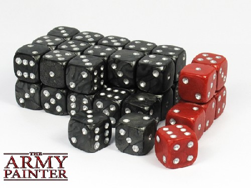 Wargaming Dice: Black w. Red