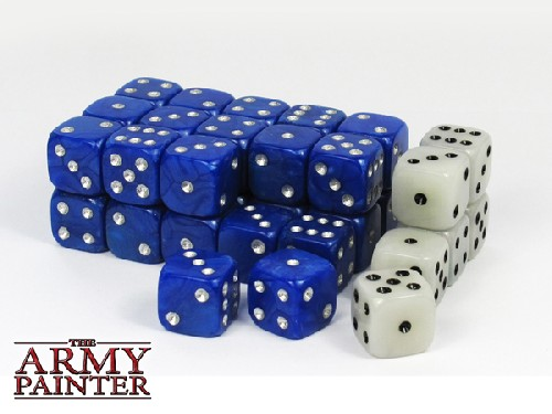 Wargaming Dice: Blue w. White