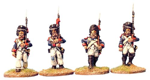 French Ligne Elites in bearskin, marching/advancing