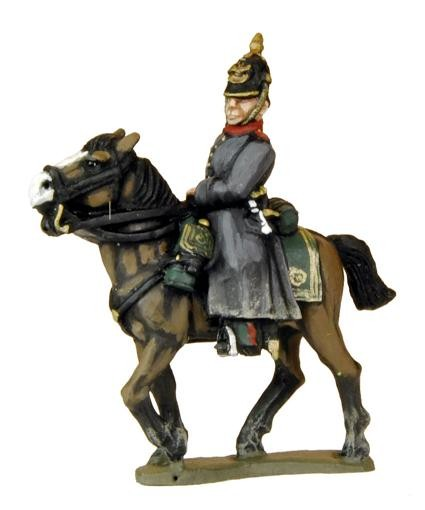 Mounted Russian Officers in Helmets